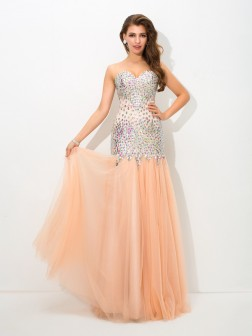 Trumpet/Mermaid Sweetheart Beading Sleeveless Floor-Length Net Dresses