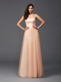 A-Line/Princess Halter Beading Sleeveless Floor-Length Net Dresses