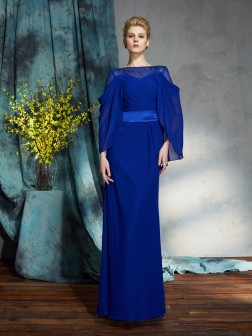 Sheath/Column Bateau Long Sleeves Floor-Length Chiffon Dresses