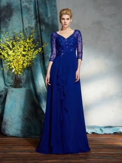 A-Line/Princess V-neck Sequin 3/4 Sleeves Floor-Length Chiffon Mother of the Bride Dresses
