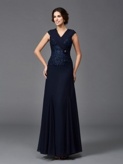 A-Line/Princess Straps Lace Sleeveless Ankle-Length Chiffon Mother of the Bride Dresses