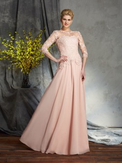 A-Line/Princess Scoop Applique 3/4 Sleeves Floor-Length Chiffon Mother of the Bride Dresses