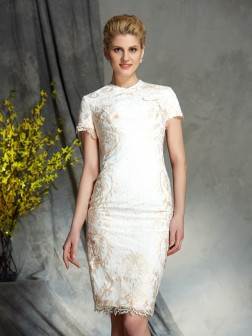 Sheath/Column Jewel Lace Short Sleeves Short/Mini Lace Mother of the Bride Dresses