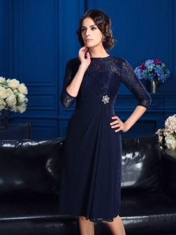 A-Line/Princess Jewel Lace 3/4 Sleeves Knee-Length Chiffon Mother of the Bride Dresses
