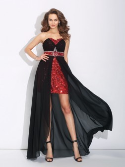 A-Line/Princess Sweetheart Sequin Sleeveless Asymmetrical Chiffon Dresses