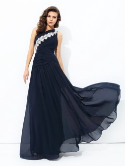 A-line/Princess One-Shoulder Applique Sleeveless Floor-Length Chiffon Dresses