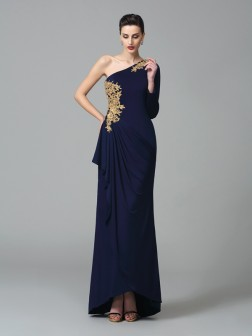 Sheath/Column One-Shoulder Embroidery Long Sleeves Floor-Length Spandex Dresses