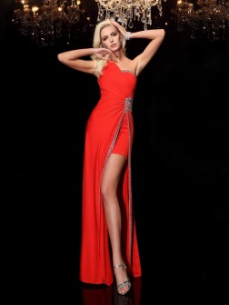Sheath/Column One-Shoulder Beading Sleeveless Floor-Length Spandex Dresses