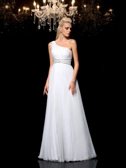 A-Line/Princess One-Shoulder Beading Sleeveless Floor-Length Organza Dresses