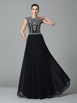 A-Line/Princess Jewel Beading Short Sleeves Floor-Length Chiffon Dresses