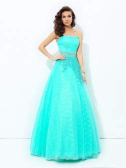 A-line/Princess Strapless Beading Sleeveless Floor-Length Elastic Woven Satin Dresses