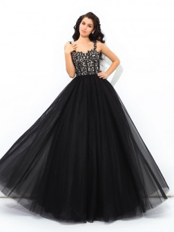 Ball Gown Straps Applique Sleeveless Floor-Length Net Quinceanera Dresses