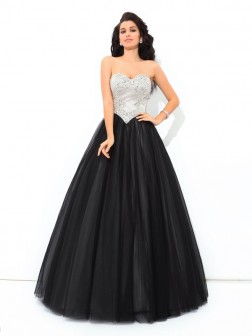 Ball Gown Sweetheart Paillette Sleeveless Floor-Length Net Quinceanera Dresses