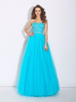 A-Line/Princess Sweetheart Rhinestone Sleeveless Floor-Length Satin Dresses