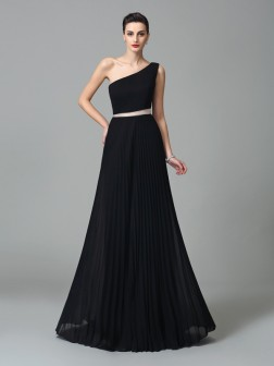 A-Line/Princess One-Shoulder Pleats Sleeveless Floor-Length Chiffon Dresses