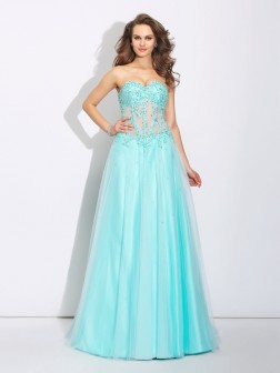 A-Line/Princess Sweetheart Lace Sleeveless Sweep/Brush Train Net Dresses