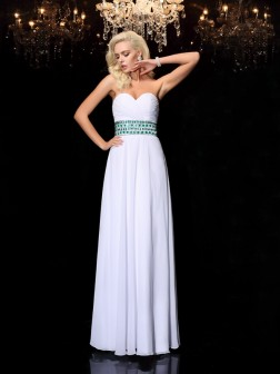A-line/Princess Sweetheart Rhinestone Sleeveless Floor-Length Chiffon Dresses