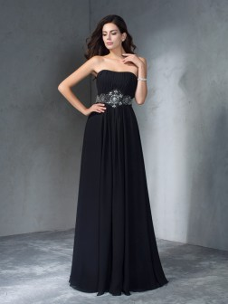 A-Line/Princess Strapless Beading Sleeveless Floor-Length Chiffon Dresses
