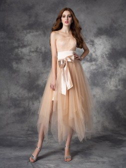 A-line/Princess Strapless Bowknot Sleeveless Ankle-Length Elastic Woven Satin Dresses