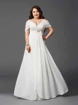 A-Line/Princess Off-the-Shoulder Ruched Short Sleeves Floor-Length Chiffon Dresses