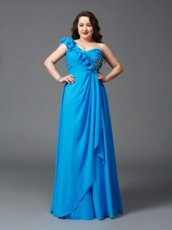 A-Line/Princess One-Shoulder Rhinestone Sleeveless Floor-Length Chiffon Dresses