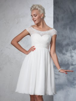 A-Line/Princess Sheer Neck Ruched Short Sleeves Knee-Length Chiffon Wedding Dresses