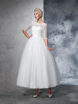 Ball Gown Bateau Lace 1/2 Sleeves Ankle-Length Net Wedding Dresses