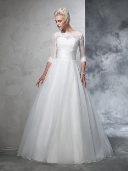 Ball Gown Jewel Applique 3/4 Sleeves Floor-Length Organza Wedding Dresses