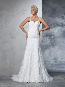 Trumpet/Mermaid Spaghetti Straps Lace Sleeveless Chapel Train Lace Wedding Dresses