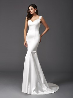 Trumpet/Mermaid Straps Beading Sleeveless Sweep/Brush Train Satin Wedding Dresses