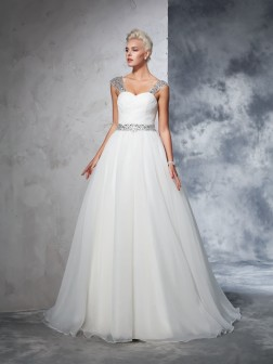 Ball Gown Straps Ruched Sleeveless Chapel Train Net Wedding Dresses
