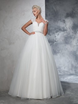 Ball Gown Sweetheart Ruched Sleeveless Sweep/Brush Train Tulle Wedding Dresses