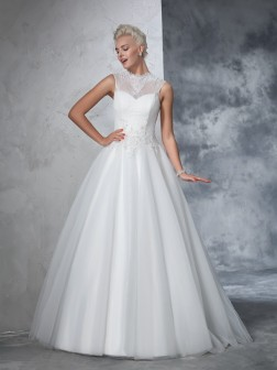 Ball Gown High Neck Applique Sleeveless Floor-Length Net Wedding Dresses