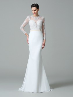 Trumpet/Mermaid Jewel Lace Long Sleeves Sweep/Brush Train Satin Wedding Dresses