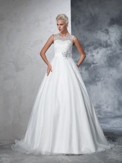 Ball Gown Sheer Neck Lace Sleeveless Chapel Train Net Wedding Dresses