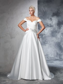 Ball Gown Off-the-Shoulder Ruched Sleeveless Chapel Train Taffeta Wedding Dresses