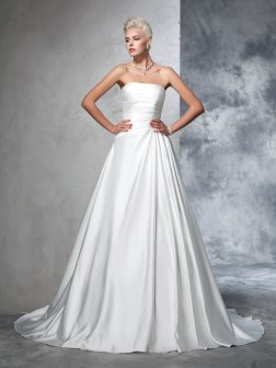 Ball Gown Strapless Ruched Sleeveless Chapel Train Satin Wedding Dresses