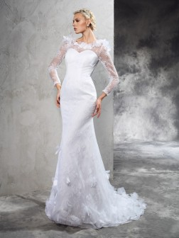 Sheath/Column Sheer Neck Hand-Made Flower Long Sleeves Court Train Satin Wedding Dresses