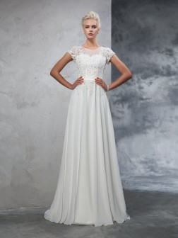 A-Line/Princess Sheer Neck Applique Short Sleeves Sweep/Brush Train Chiffon Wedding Dresses