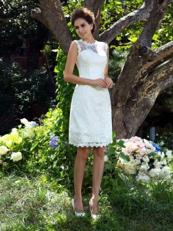 A-Line/Princess Sheer Neck Applique Sleeveless Knee-Length Satin Wedding Dresses