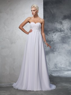 A-Line/Princess Sweetheart Beading Sleeveless Sweep/Brush Train Chiffon Wedding Dresses