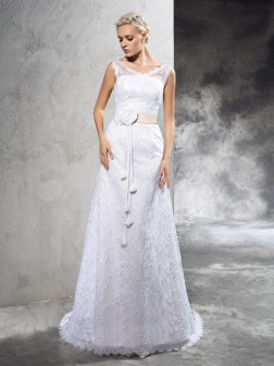 Sheath/Column Sheer Neck Hand-Made Flower Sleeveless Court Train Satin Wedding Dresses