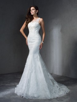 Trumpet/Mermaid Scoop Applique Sleeveless Court Train Lace Wedding Dresses
