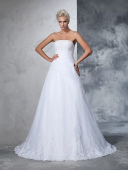 Ball Gown Strapless Applique Sleeveless Court Train Net Wedding Dresses
