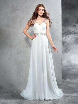 A-Line/Princess Sweetheart Pleats Sleeveless Sweep/Brush Train Chiffon Wedding Dresses