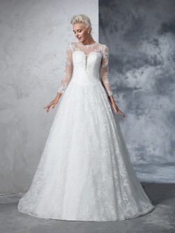 Ball Gown Jewel Lace Long Sleeves Court Train Lace Wedding Dresses