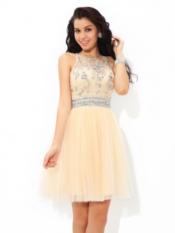 A-Line/Princess Sheer Neck Beading Sleeveless Short/Mini Net Cocktail Dresses