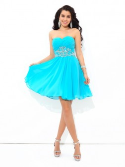 A-Line/Princess Sweetheart Pleats Sleeveless Short/Mini Chiffon Cocktail Dresses