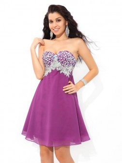 A-Line/Princess Sweetheart Rhinestone Sleeveless Short/Mini Chiffon Cocktail Dresses
