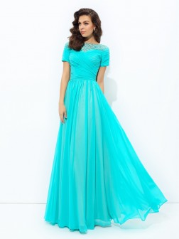 A-line/Princess Bateau Lace Short Sleeves Floor-Length Chiffon Dresses